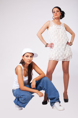 Two Young beauty women hip-hop style