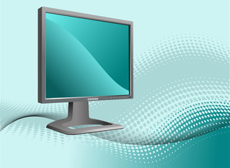 Blue dotted background with Flat computer monitor. Display. Vect