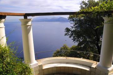 Terrace overlooking the sea in Anacapri on isle of Capri Italy