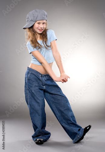 Dancing smiling girl