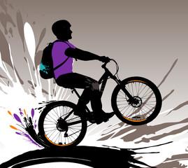 Biker silhouette, vector illustration with splashes.
