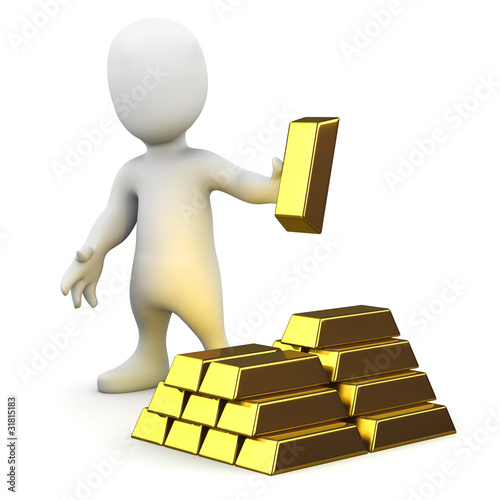 3d Little man holds gold