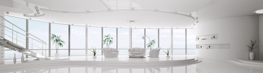 Modern apartment interior design panorama 3d render