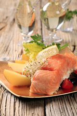Salmon fillet and potatoes