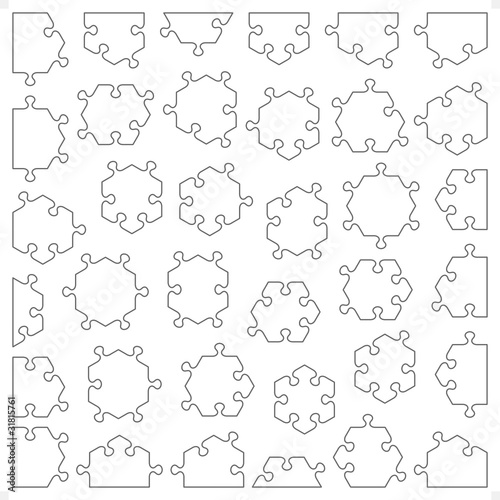 Set of hexagonal transparent puzzle pieces fitting each other