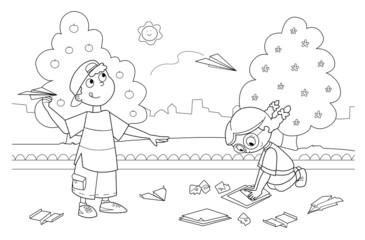 Bambini che giocano con aeroplani di carta nel parco
