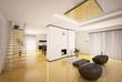 Wohnzimmer mit Kamin und Treppe interior 3d render