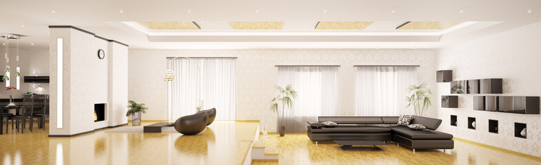 Modern interior apartment panorama 3d render