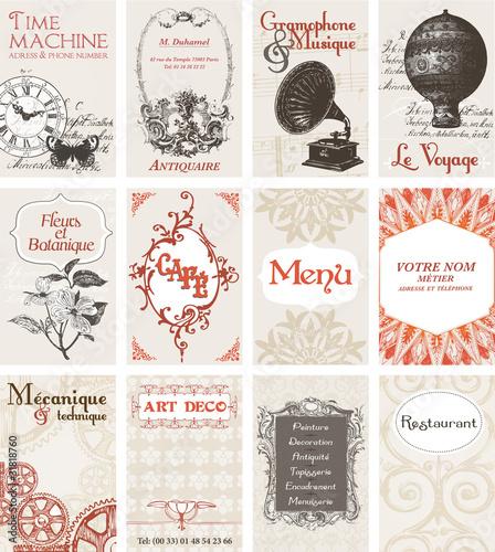 12 cartes de visites esprit rétro