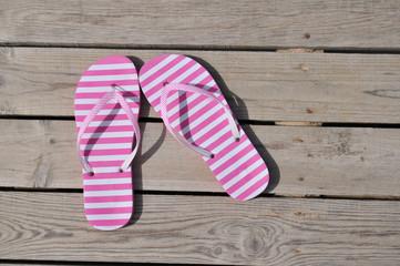 Striped pink sandals