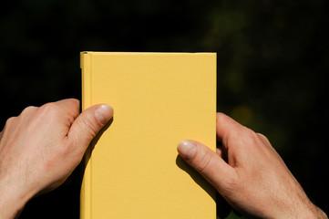 Hände halten ein Buch fest