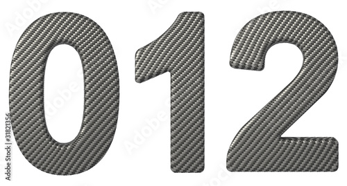 Carbon fiber font 0 1 2 numerals isolated