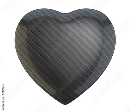 Carbon fiber heart shape isolated