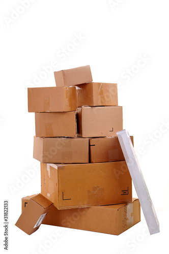 Boxes carelessly stacked on top of each other