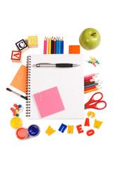 Pencils and apple - concept school