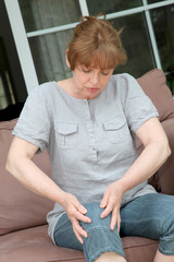 Senior woman with osteoarthritis pain