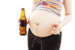 A pregnant woman with beer and cigarette