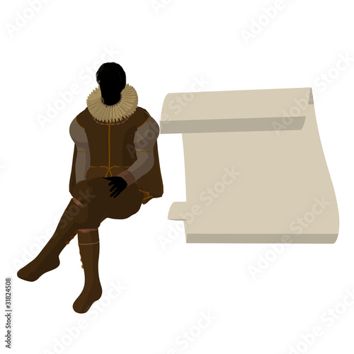 William Shakespeare Illustration Silhouette