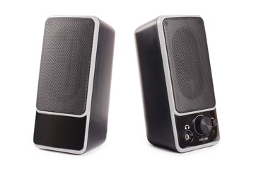 Black two speaker  isolated on background