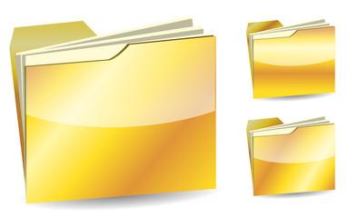set of luxury golden folder isolated on white background