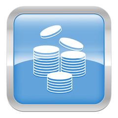 pictogramme pièces de monnaie série carré bleu