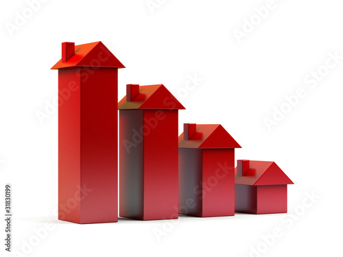 Houses - 3d render illustration on white background.