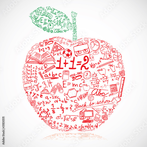 Apple made of school symbols