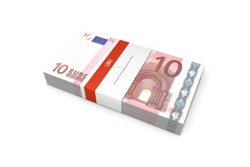 Packet of 10 Euro Notes with Bank Wrapper