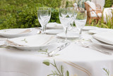 Table arangement for garden banquet