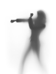 fighter woman silhouette, box