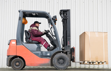 forklift loader with load
