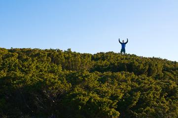Hiker winning