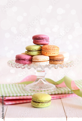 French macaroons on cake tray