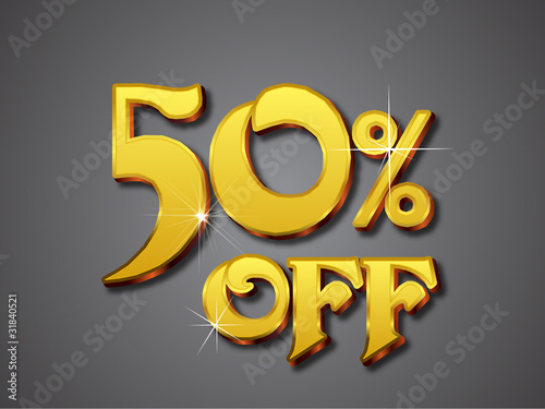50 percent off emboss gold text effect