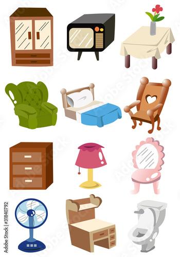 Fotomural hogar muebles de dibujos animados icono mueble for Dibujos de muebles