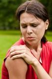 Shoulder injury - sportswoman in pain poster