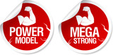 Mega strong, power model stickers set. poster