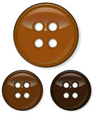 set of glossy brown buttons isolated on white background