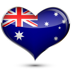 a heart with the flag of Australia