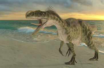 monolophosaurus walking on the beach