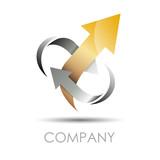 Logo arrow  in two arrows, output # Vector poster