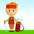 Cartoon young man with bag of golf clubs