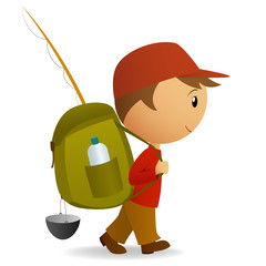 Cartoon journey man with big backpack