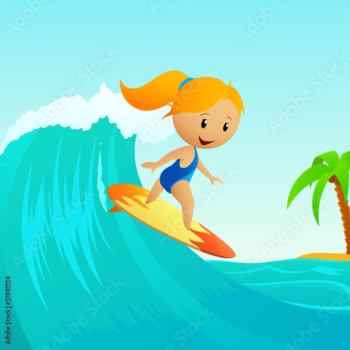 Cartoon cute little girl surfing on waves