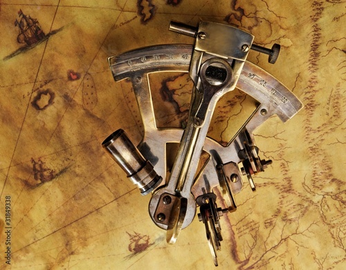 Sextant on the old map