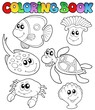 Coloring book with marine animals 3