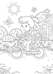 Girl rides a bicycle