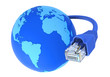 Blue network cable - connected world