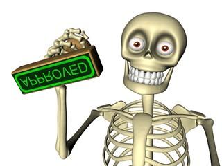 Cute skeleton officer gives stamp approved