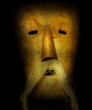 Old slavic pagan mask for ritual poster